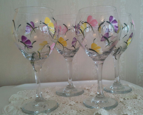 Hand Painted Butterfly Wine Glass