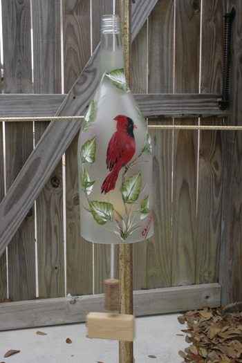 Hand Painted Wind Chime Cardinal