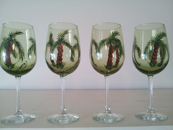 Hand Painted Palm Tree Wine Glasses