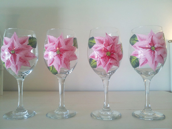 Hand Painted Pink Poinsettia Wine Glass
