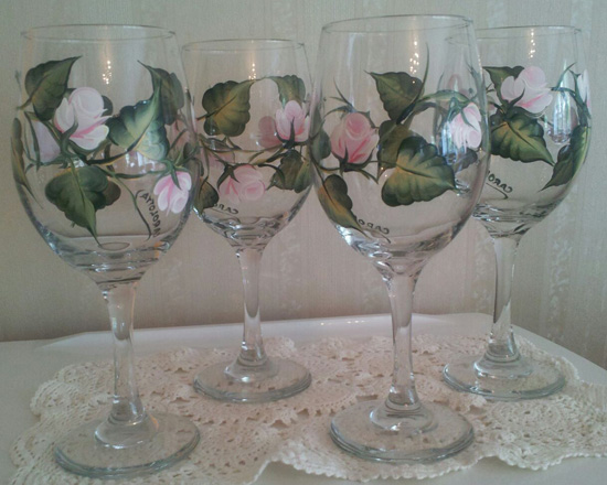 Hand Painted Pink Rose Wine Glasses