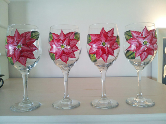 Hand Painted Red Ponsettias Wine Glasses